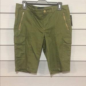 Olive green mid length summer shorts